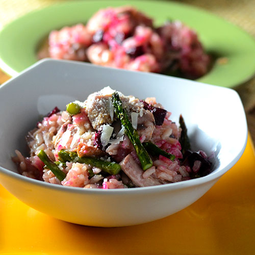 Duck Beet Risotto #duck #beets #risotto /www.feedyoursoul2.com