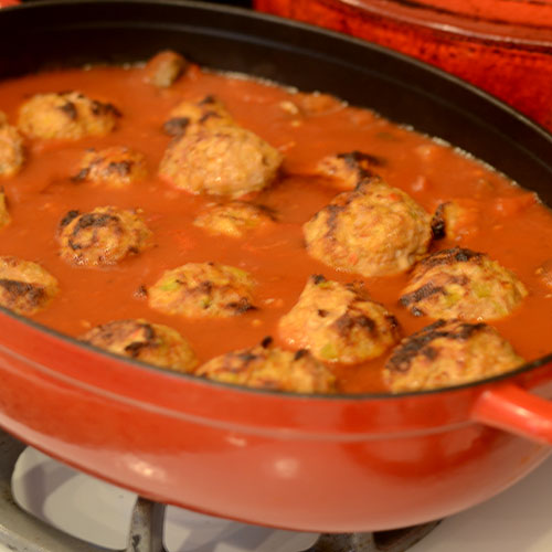 Meatballs Added to Sauce