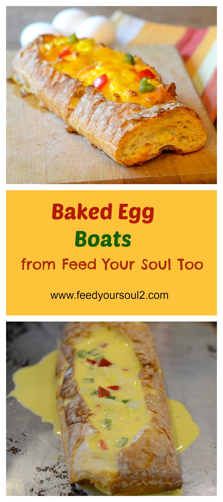 Baked Egg Boats #Bread #Breakfast #Eggs | feedyoursoul2.com