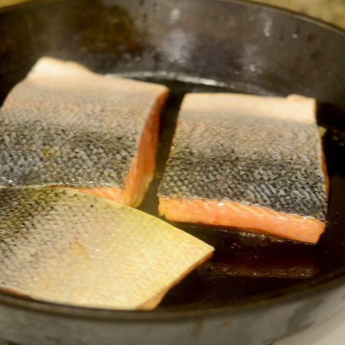 Salmon Added to the Skillet