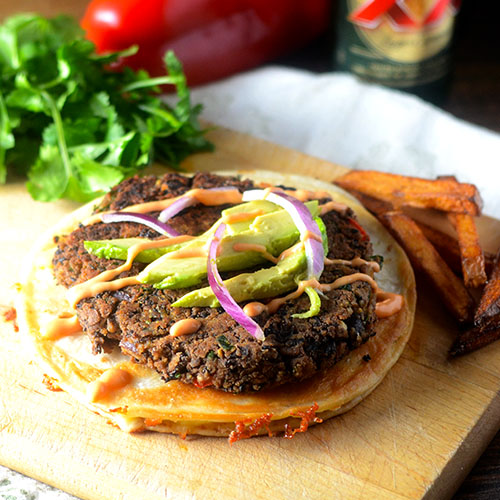 Black Bean Burger Quesadilla