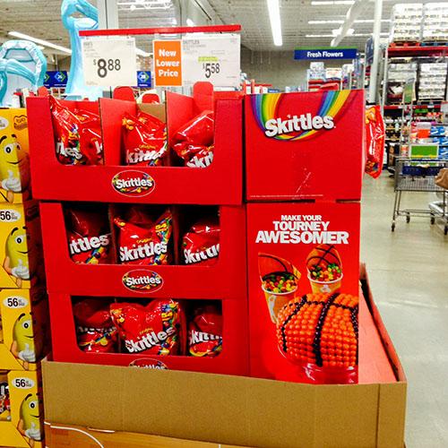 54 ounce bag Skittles Display