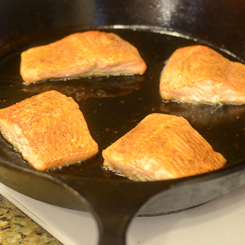 Salmon Cooked Skin Side Down