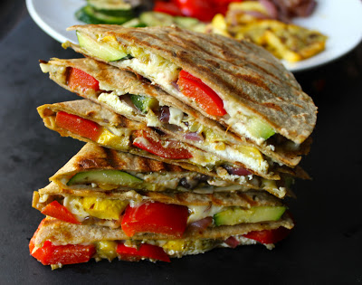 Grilled-vegetable-quesadillas-with-goat-cheese-and-pesto