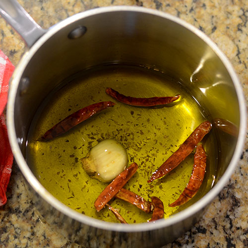 Infusing the Olive Oil with the Chilies
