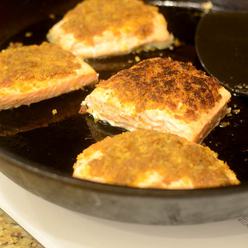 Breaded Salmon Flipped in Cast Iron Skillet