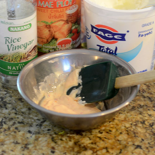 Dressing, fat-free plain Greek yogurt, sweet chili sauce, rice wine vinegar