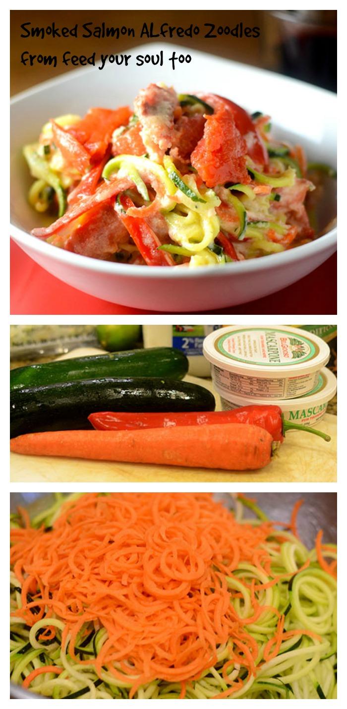 Smoked Salmon Alfredo Zoodles #zoodles #smokedsalmon #seafood #pasta | feedyoursoul2.com