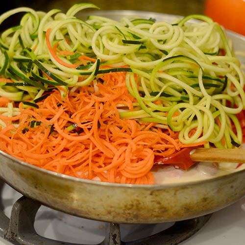 Zucchini and Carrots Added to Alfredo