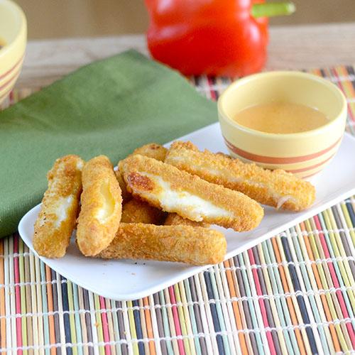 Mozzarella Sticks with Red Pepper Sauce