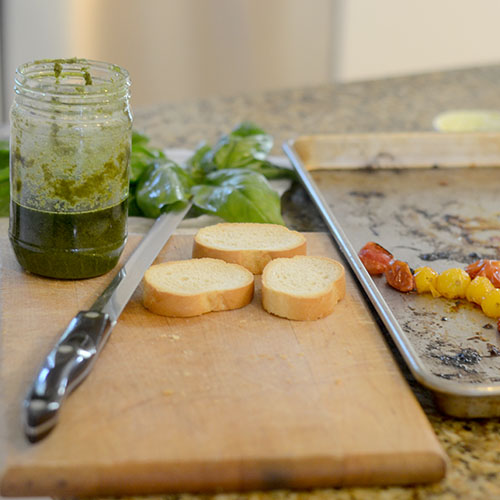 Cut Crostini with Basil Pesto