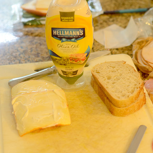 Cheese & Hellman's Olive Oil Mayonnaise added