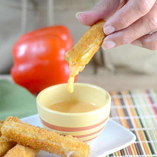 Mozzarella Sticks with Red Pepper Sauce
