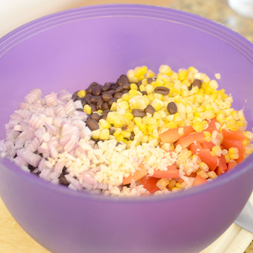 Ingredients, black beans, corn, garlic, red peppers, onions