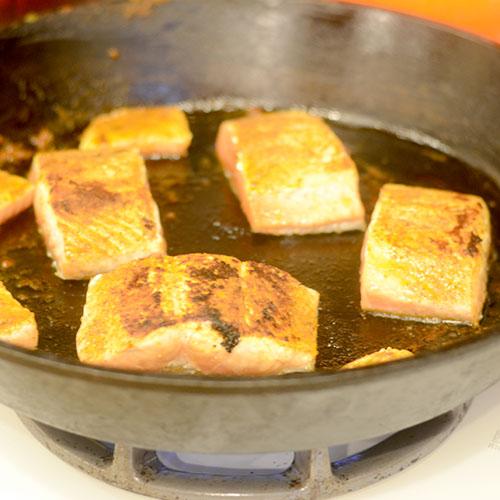 Salmon in Cast Iron Skillet