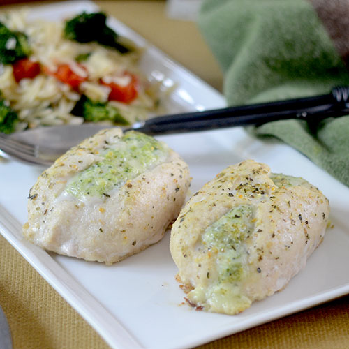 Barber Foods Chicken Breast Stuffed with Broccoli and Cheese Plated