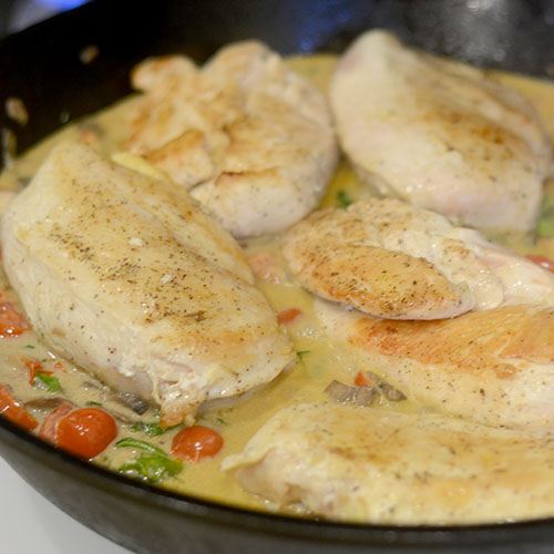 Chicken Added Back to Pan with Mustard Sauce
