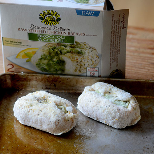 Barber Foods Chicken Breast Stuffed with Broccoli and Cheese on Baking Tray