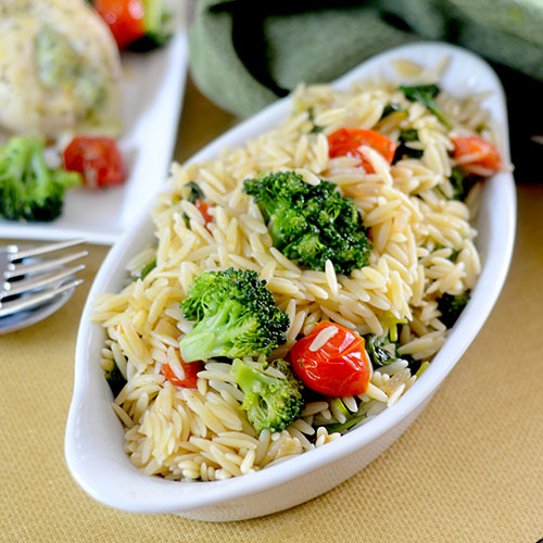 Broccoli Orzo with Barber Chicken