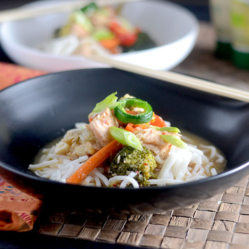 Asian Salmon with Rice Noodles