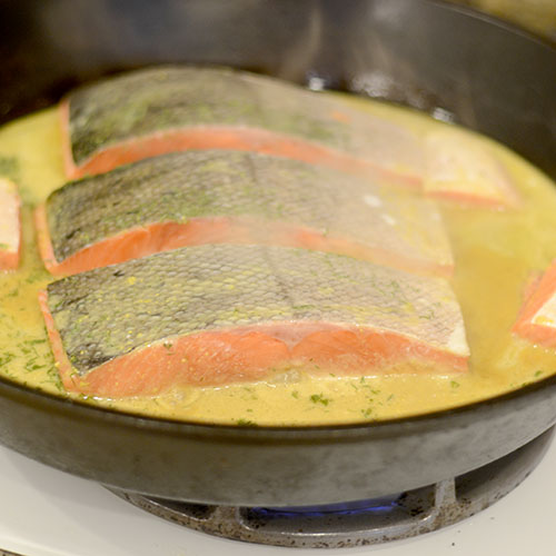 Poaching Salmon in Mustard Sauce