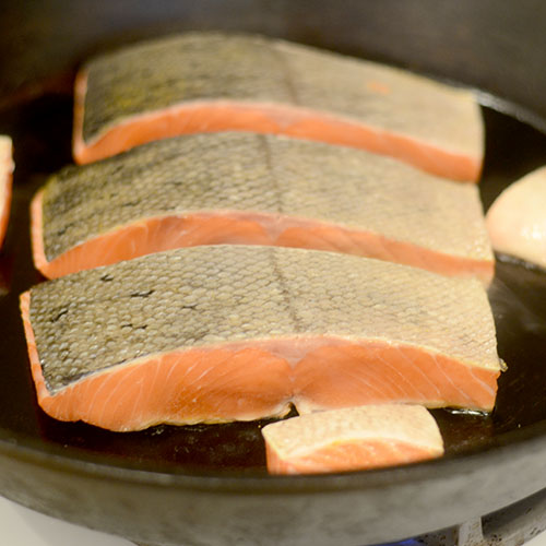 Charring Salmon in Skillet