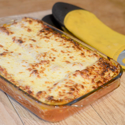Meat Lasagna out of Oven
