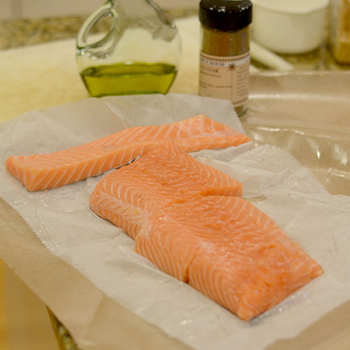 Salmon cut into Fillets