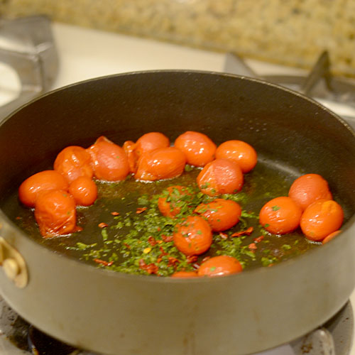Tomatoes Herbs in Pan