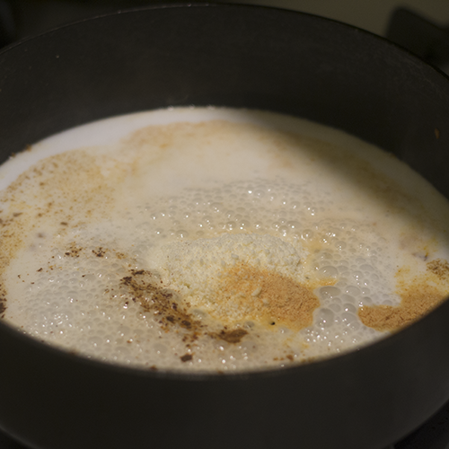 Coconut Milk and Spices Added