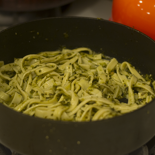 Pasta Added to Basil