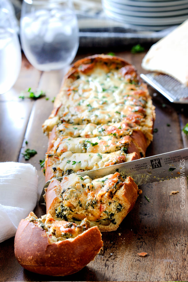 Spinach Dip Stuffed French Bread Best Appetizers