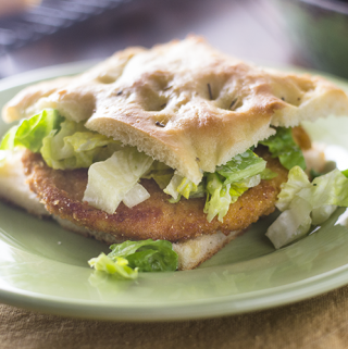 Chicken Sandwich Milanese on Focaccia