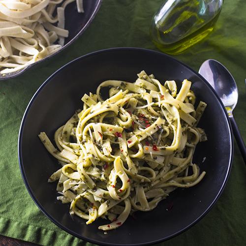 """Easy Basil Pasta #basil #vegetarian / feedyoursoul2.com"""