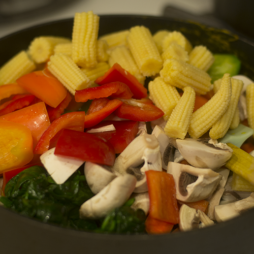 Vegetables Added to Skillet