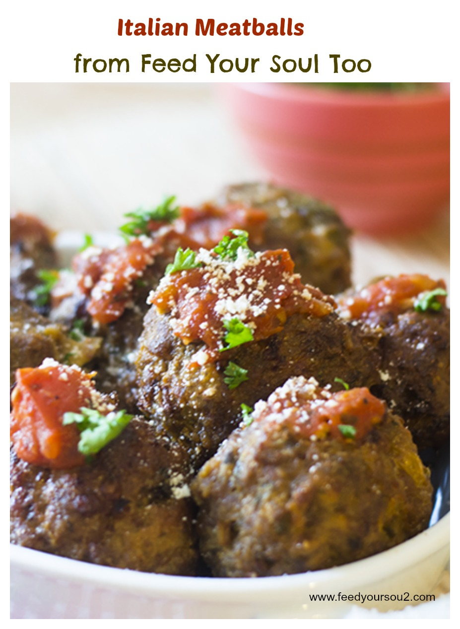"""Italian Meatballs #beef #veal #baked / feedyoursoul2.com"""