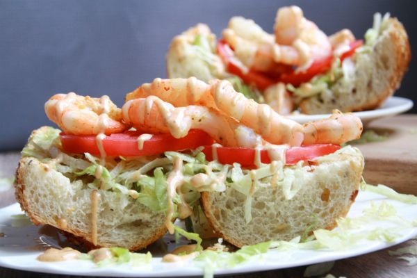 Shrimp PoBoys seen on Feed Your Soul Too