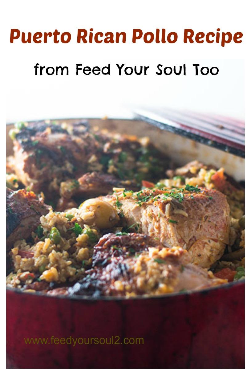 Puerto Rican Pollo Recipe #chicken #onepotmeal | feedyoursoul2.com
