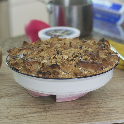 Cinnamon Raisin Bagel Bread Pudding after Baking