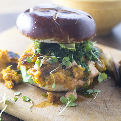 Vegan Spicy Chickpea Burger from Feed Your Soul Too