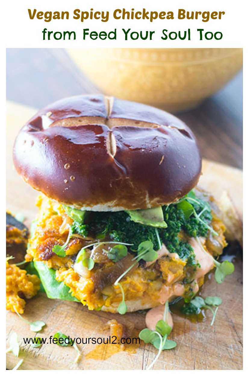 Vegan Spicy Chickpea Burger #Vegan #burger #spicy | feedyoursoul2.com
