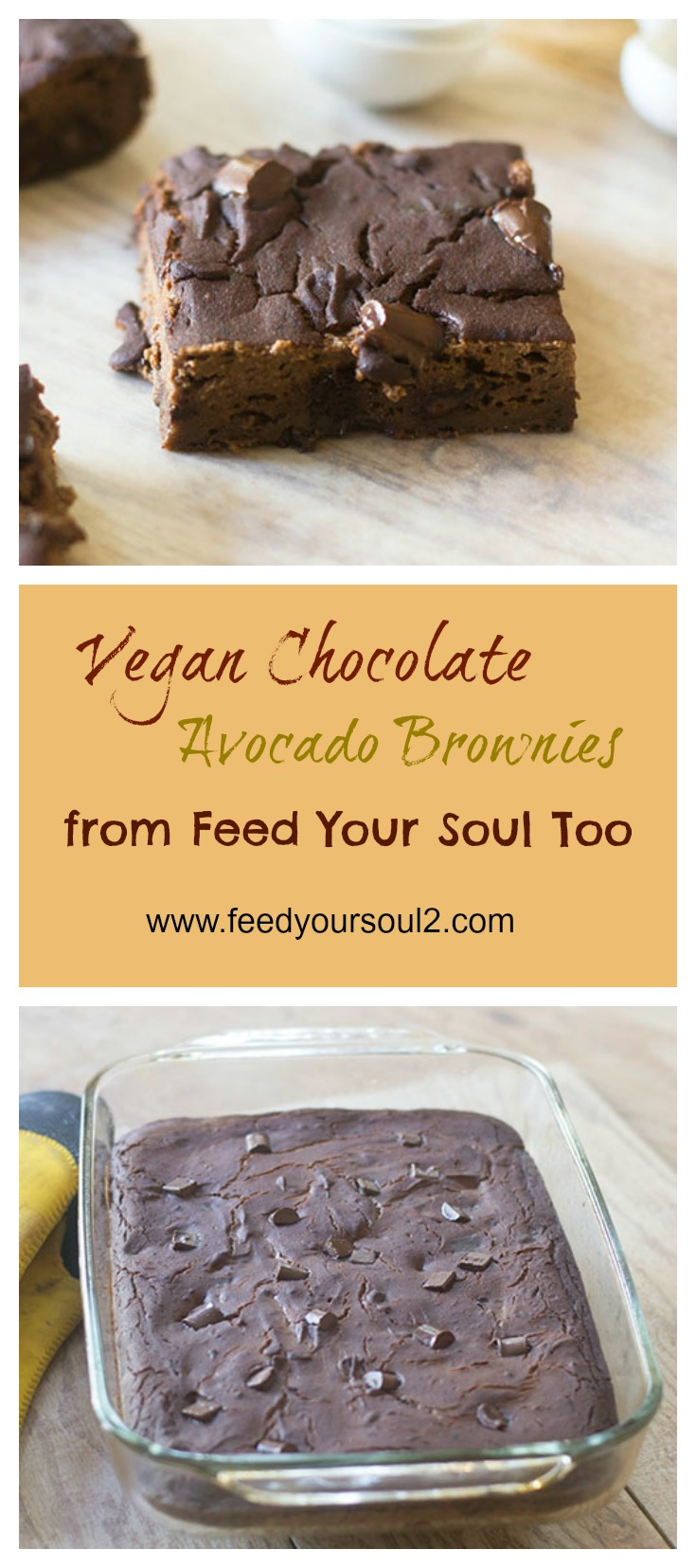 Vegan Chocolate Avocado Brownies #Vegan #chocolate #avocados | feedyoursoul2.com