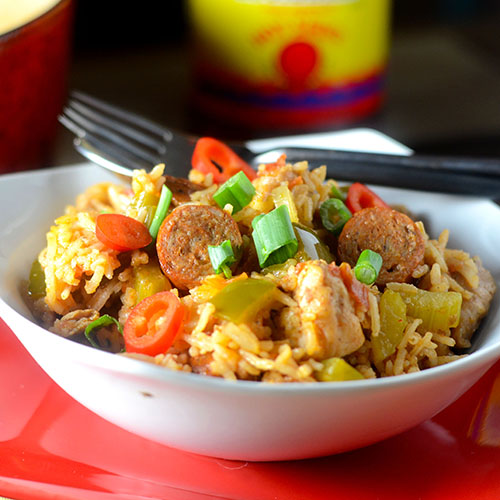 Smoked Chicken and Sausage Jambalaya