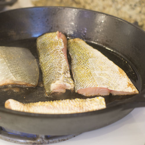 Fish Added to Skillet
