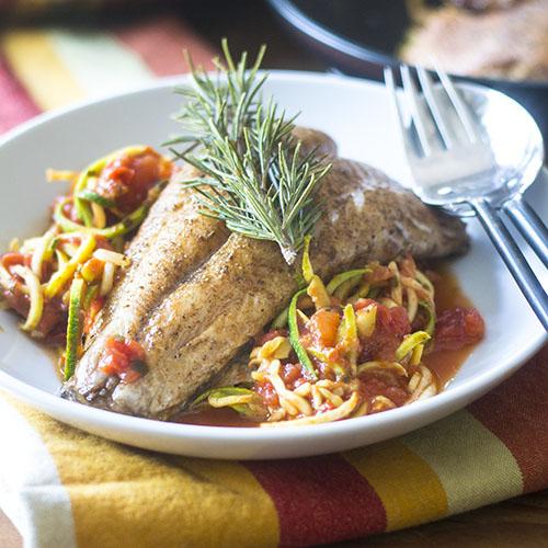 Branzino on Zoodles #seafood #branzino #zoodles | feedyoursoul2.com