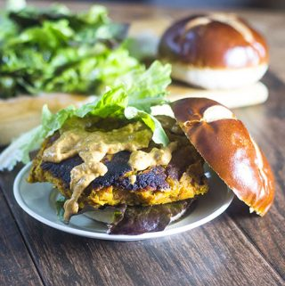 Sweet Potato Chickpea Lentil Burger