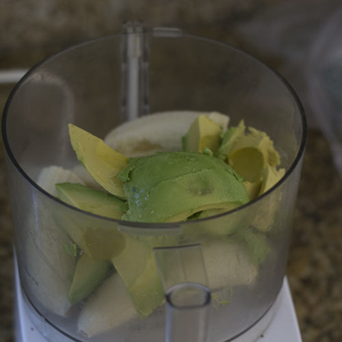 Avocados & Bananas in Food Processor