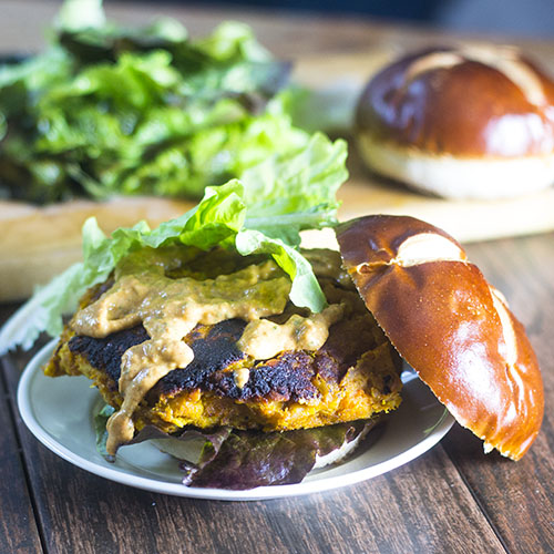 Sweet Potato Chickpea Lentil Burger from Feed Your Soul Too