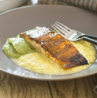 BBQ Salmon over Corn & Pea Purées