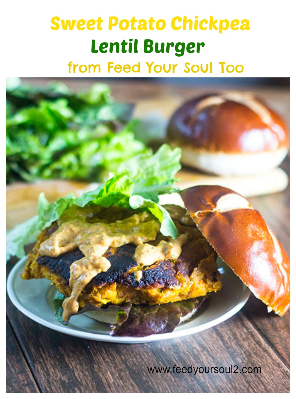 Sweet Potato Chickpea Lentil Burger #veggieburger #vegan #lentils | feedyoursoul2.com